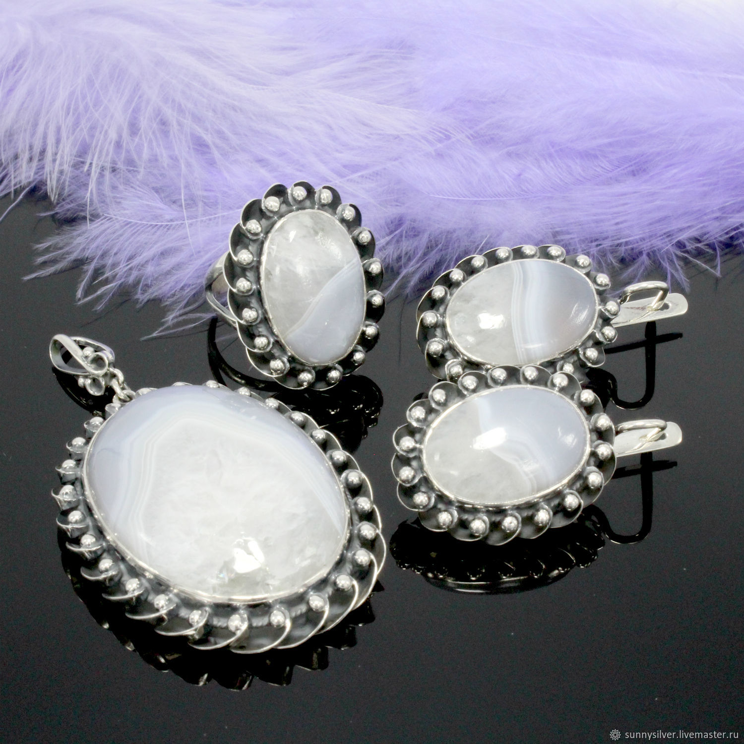 Cascarolla jewelry set with agates in 925 silver (VIDEO), Jewelry Sets, Yerevan,  Фото №1