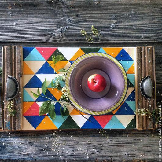 Кухня ручной работы. Ярмарка Мастеров - ручная работа. Купить поднос деревянный Ромбы. Handmade. Комбинированный, декор дома, радуга