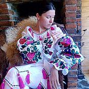 Одежда ручной работы. Ярмарка Мастеров - ручная работа Платье лен вышитое, бохо, стиль Bohemian,этно. Handmade.