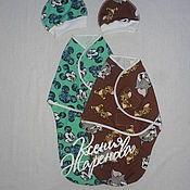 Работы для детей, ручной работы. Ярмарка Мастеров - ручная работа Евро-пеленка на липучке и шапочка тк.футер. Handmade.