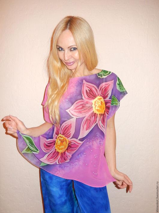 Блузки ручной работы. Ярмарка Мастеров - ручная работа. Купить блуза-кимоно-  Озорная фуксия. Handmade. Фуксия, авторская работа