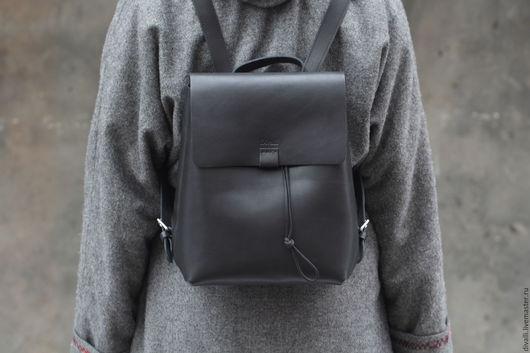 Рюкзаки ручной работы. Ярмарка Мастеров - ручная работа. Купить Кожаный рюкзак Divalli B0031. Handmade. Черный, рюкзак из кожи