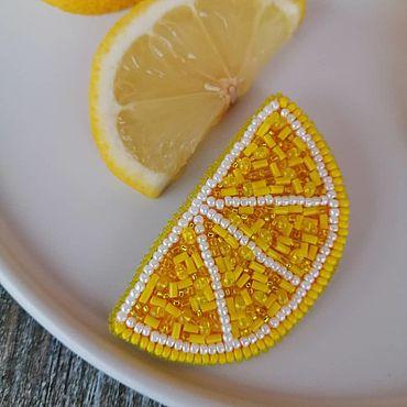 Украшения ручной работы. Ярмарка Мастеров - ручная работа Брошь долька лимона1. Handmade.