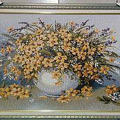 Картины и панно ручной работы. Ярмарка Мастеров - ручная работа Картина гобелен Роскошный желтый букет 60х40 см в рамке. Handmade.