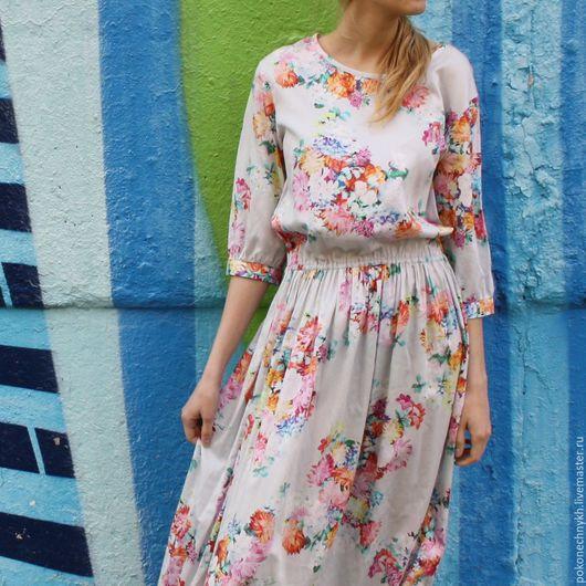 Платья ручной работы. Ярмарка Мастеров - ручная работа. Купить Платье весеннее ЦВЕТУТ ЦВЕТЫ. Handmade. Голубой, платье с цветами
