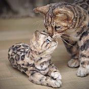 Куклы и игрушки handmade. Livemaster - original item Bengal cat with kitten. Realistic toys.. Handmade.