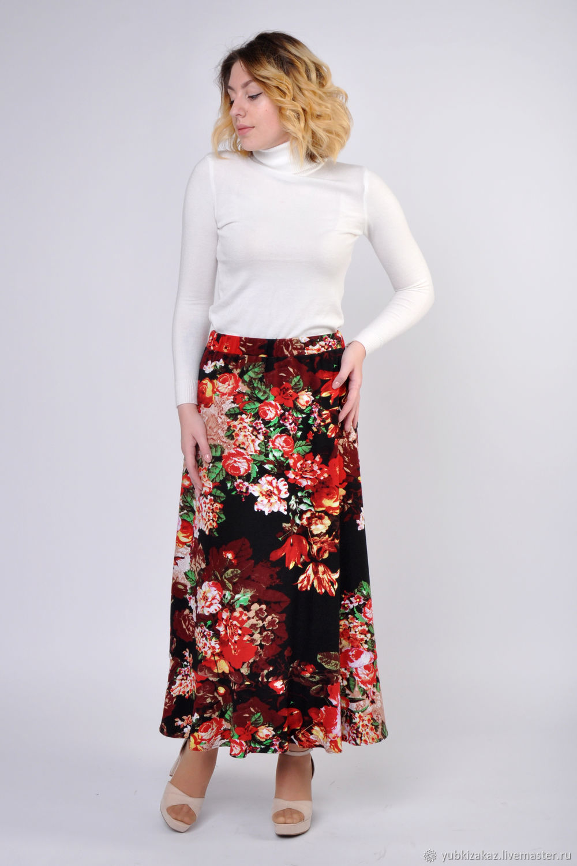 Demi-season skirt with flowers, Skirts, Novosibirsk,  Фото №1