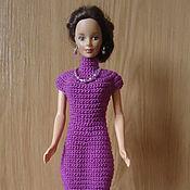 Куклы и игрушки ручной работы. Ярмарка Мастеров - ручная работа Сиреневое платье с кокеткой и воротником стойкой. Handmade.