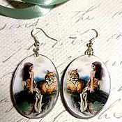 Earrings handmade. Livemaster - original item Oval wooden Girl and tiger earrings. Handmade.