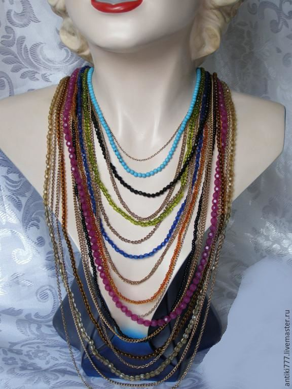 Vintage multi-row beads necklace!, Vintage necklace, Moscow,  Фото №1