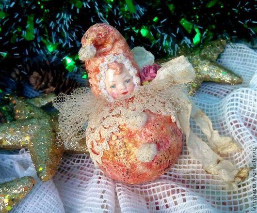 """Новый год 2017 ручной работы. Ярмарка Мастеров - ручная работа. Купить Ватная елочная игрушка """"Гном"""". Украшение на ёлку.. Handmade."""