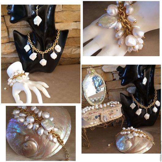 Стильные эксклюзивные украшения из натурального жемчуга Барокко купить красивый модный жемчужный браслет колье ожерелье комплект авторские украшения дизайнера Светланы Молодых