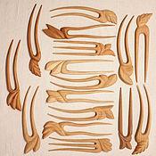 Заколки ручной работы. Ярмарка Мастеров - ручная работа Заколки деревянные резные в ассортименте. Handmade.
