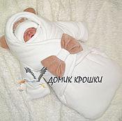 """Работы для детей, ручной работы. Ярмарка Мастеров - ручная работа Комбинезон-конверт для новорожденного """"Молочный с бантом"""". Handmade."""
