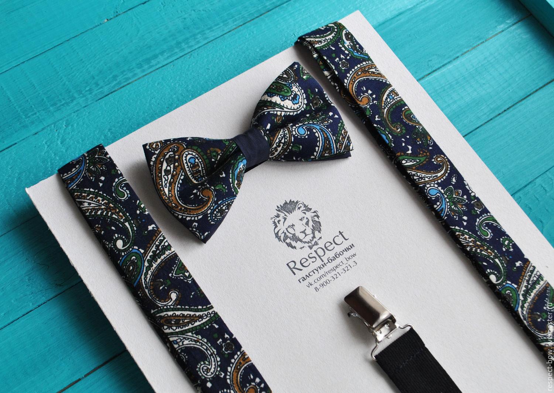 Темно синяя галстук бабочка + Подтяжки / Набор Восточный огурец, Ремни, Москва,  Фото №1