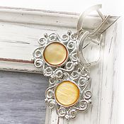 Украшения handmade. Livemaster - original item Earrings yellow mother of pearl lace, sun, white, yellow. Handmade.