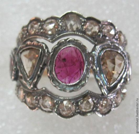 Кольца ручной работы. Ярмарка Мастеров - ручная работа. Купить Уникальное кольцо с рубинами и бриллиантами античной огранки. Handmade.