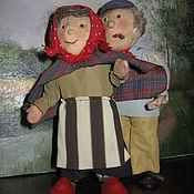 Винтаж ручной работы. Ярмарка Мастеров - ручная работа Антикварные текстильные куклы ручной работы дедушка с бабушкой. Handmade.