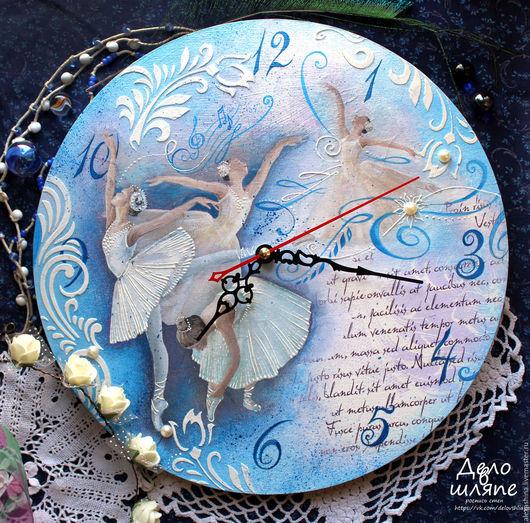 """Часы для дома ручной работы. Ярмарка Мастеров - ручная работа. Купить часы """"Лебединое озеро"""". Handmade. Тёмно-бирюзовый, нежность"""