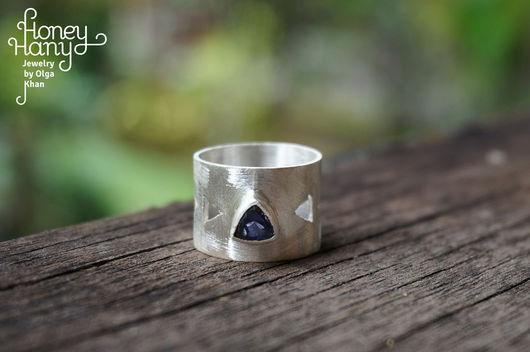 Кольца ручной работы. Ярмарка Мастеров - ручная работа. Купить Широкое геометрическое кольцо с аметистом. Handmade. Геометрия, широкое колцо