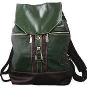 Рюкзаки ручной работы. Ярмарка Мастеров - ручная работа Рюкзак городской кожаный Зеленый с коричневым. Handmade.