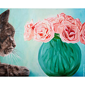 Картины и панно ручной работы. Ярмарка Мастеров - ручная работа Аромат нежных роз (50 х 40 см). Handmade.