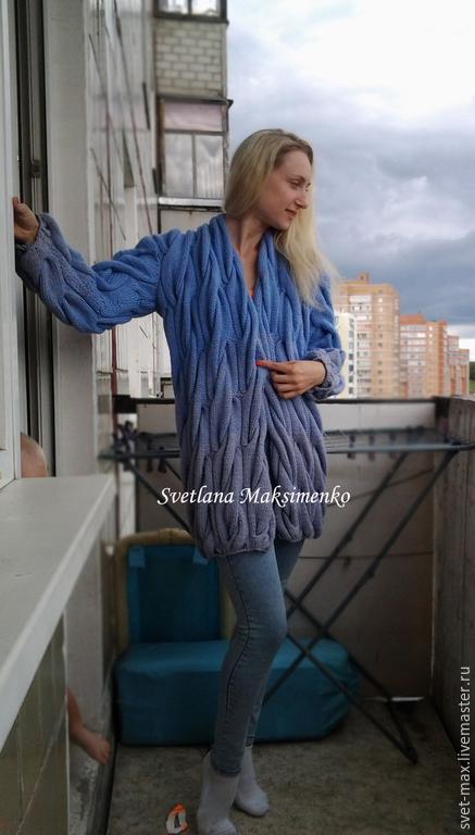 Кофты и свитера ручной работы. Ярмарка Мастеров - ручная работа. Купить Объемный кардиган Голубой жемчуг. Handmade. Голубой