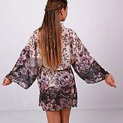 """Одежда ручной работы. Ярмарка Мастеров - ручная работа Халат - кимоно из шифона """" Пионы"""". Handmade."""
