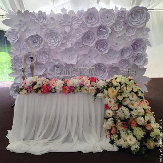 Свадебные цветы ручной работы. Ярмарка Мастеров - ручная работа. Купить Прес-волл из бумажных цветов (аренда). Handmade. Белый