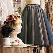 Одежда ручной работы. Ярмарка Мастеров - ручная работа Юбка из фатина Серый+пудровый Т05. Handmade.