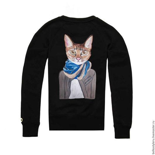 """Кофты и свитера ручной работы. Ярмарка Мастеров - ручная работа. Купить Толстовка, свитшот с авторским принтом """"Модный кот"""". Handmade."""