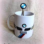 """Посуда ручной работы. Ярмарка Мастеров - ручная работа кружка с декором из полимерной глины """"BMW"""". Handmade."""