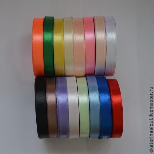 Аппликации, вставки, отделка ручной работы. Ярмарка Мастеров - ручная работа. Купить Лента атласная 1,2 см (12мм) в рулонах. 55 цветов. Handmade.