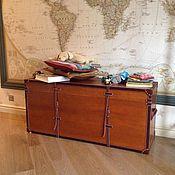 handmade. Livemaster - original item Large wooden chest with leather trim. Handmade.