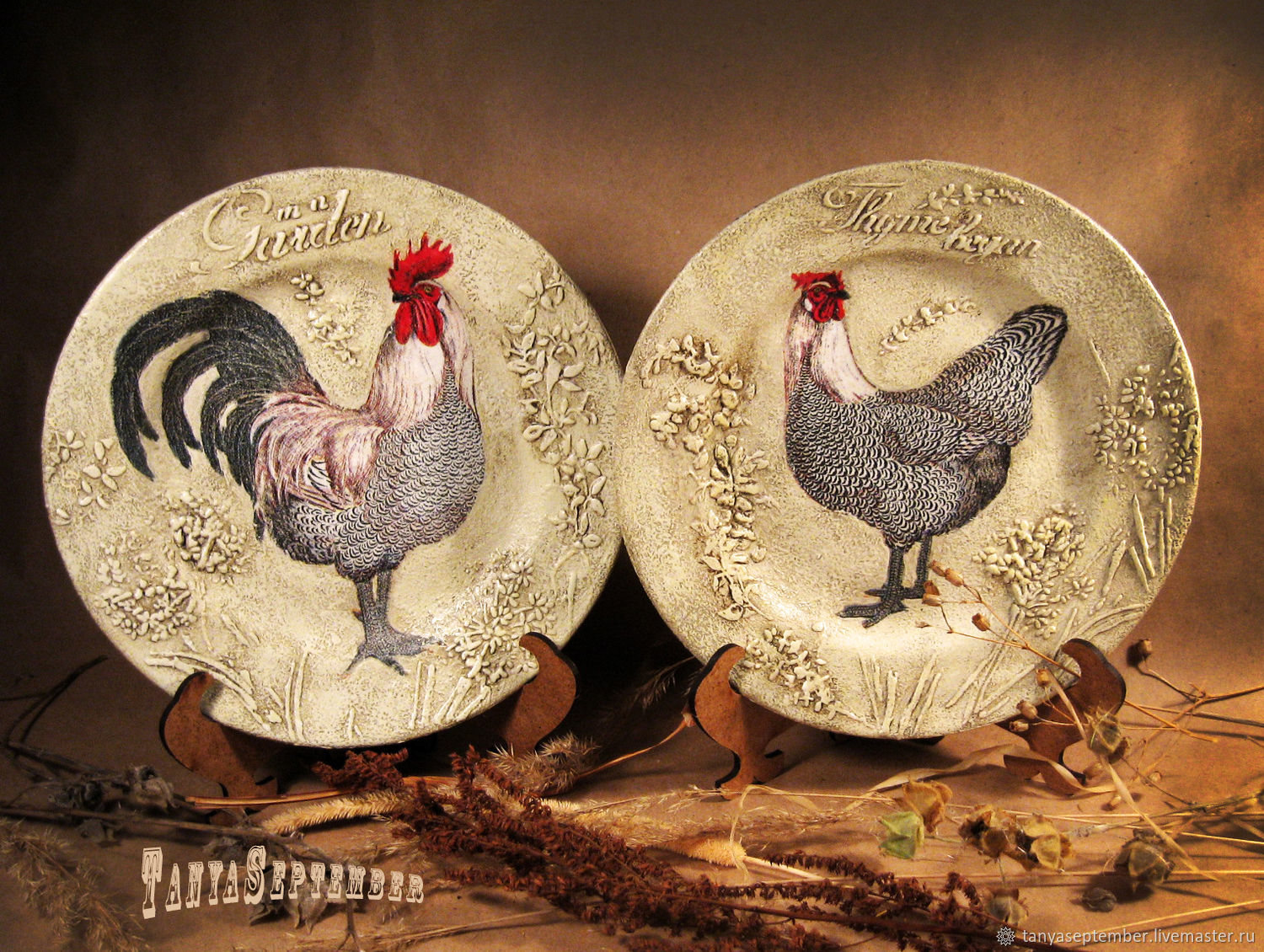 Plates on the wall ROOSTER AND HEN (set of 2 PCs), Plates, Moscow,  Фото №1