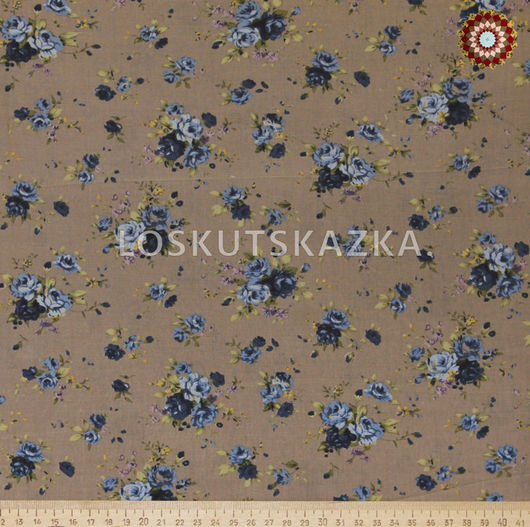 Ткань для пэчворка `Роза Утопия голубая на сером`. Хлопок 100%. ZT-00080.