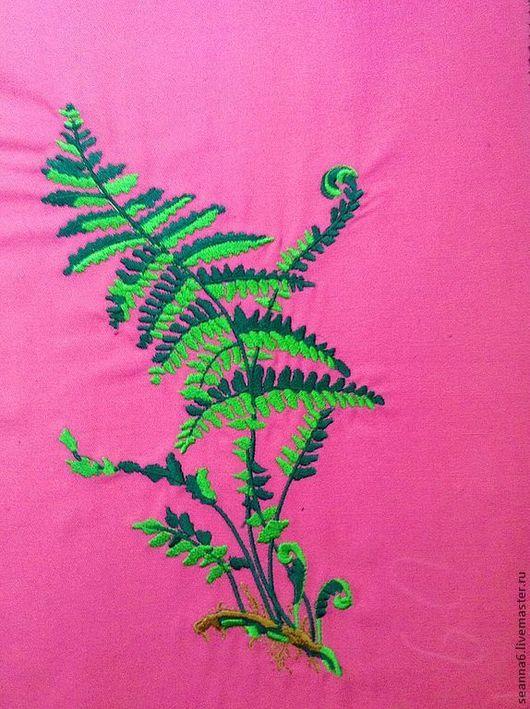 """Картины цветов ручной работы. Ярмарка Мастеров - ручная работа. Купить Вышивка на одежде, аппликация, картинка, картина """"Папоротник"""". Handmade."""