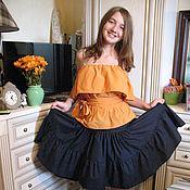 Одежда ручной работы. Ярмарка Мастеров - ручная работа Женская юбка из  хлопка  темно-синяя. Handmade.