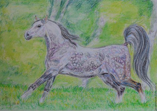 Животные ручной работы. Ярмарка Мастеров - ручная работа. Купить серый в яблоках (лошадь, акварельные карандаши). Handmade. Зеленый, цветной