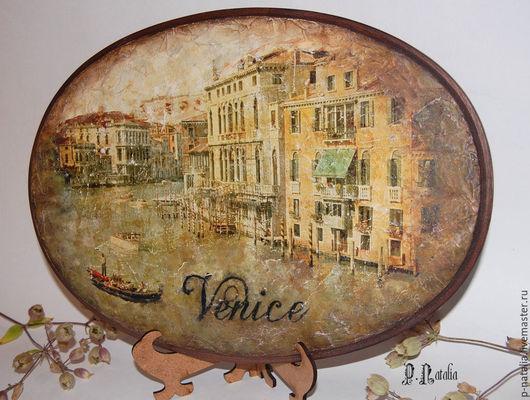 """Город ручной работы. Ярмарка Мастеров - ручная работа. Купить Панно фреска """"Венеция"""". Handmade. Коричневый, панно настенное"""