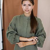 Одежда handmade. Livemaster - original item Linen dress with an olive-colored stand-up collar. Handmade.