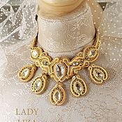 Украшения handmade. Livemaster - original item Bridal soutache necklace Evelina. Handmade.