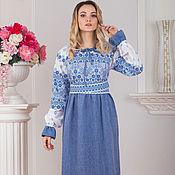 Русский стиль handmade. Livemaster - original item Traditional linen dress Gifts of the sun in blue. Handmade.