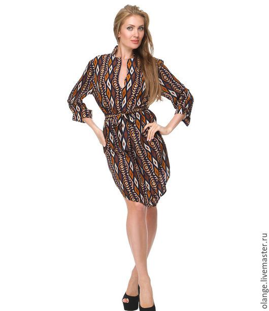 Платье-рубашка `Анна-банана`- этно (мидл)