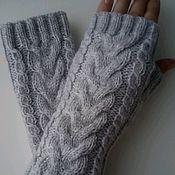 Аксессуары handmade. Livemaster - original item Mittens with braids light grey. Handmade.