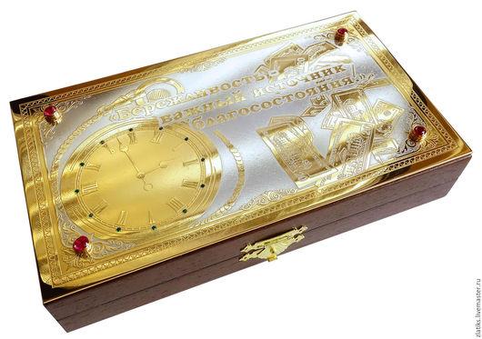 Подарочные наборы ручной работы. Ярмарка Мастеров - ручная работа. Купить Шкатулка для денег. Handmade. Золотой, златоуст, никель, фианит