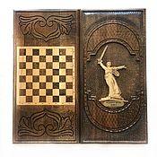 Сувениры и подарки handmade. Livemaster - original item Backgammon carved handmade Rodina