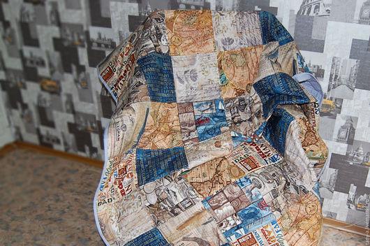 """Текстиль, ковры ручной работы. Ярмарка Мастеров - ручная работа. Купить Одеяло/покрывало """"Хочу в путешествие!"""". Handmade. Комбинированный"""