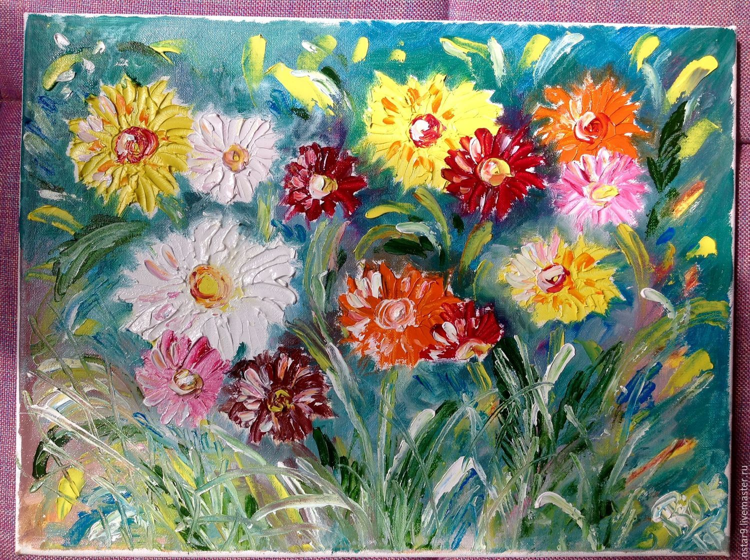 Colorful daisies(canvas on stretcher!), Pictures, Moscow,  Фото №1