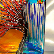 Посуда handmade. Livemaster - original item Bottle jar Autumn stained glass painting. Handmade.